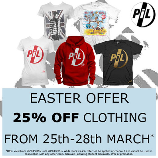 PiL UK / Rest of the World Store. Easter offer 25% off clothing from Friday March 25th to Monday 28th. Check out the webstore for full info...