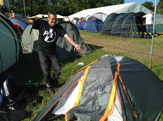Day one. 1800 hours. PiL entertainment officer shows off PiL Official Glastonbury HQ...