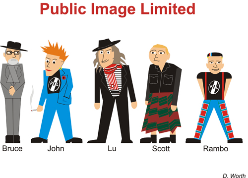 PiL carictures by Dave Worth 2010